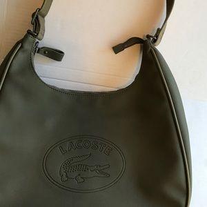 Lacoste olive PVC hobo shoulder bag EUC